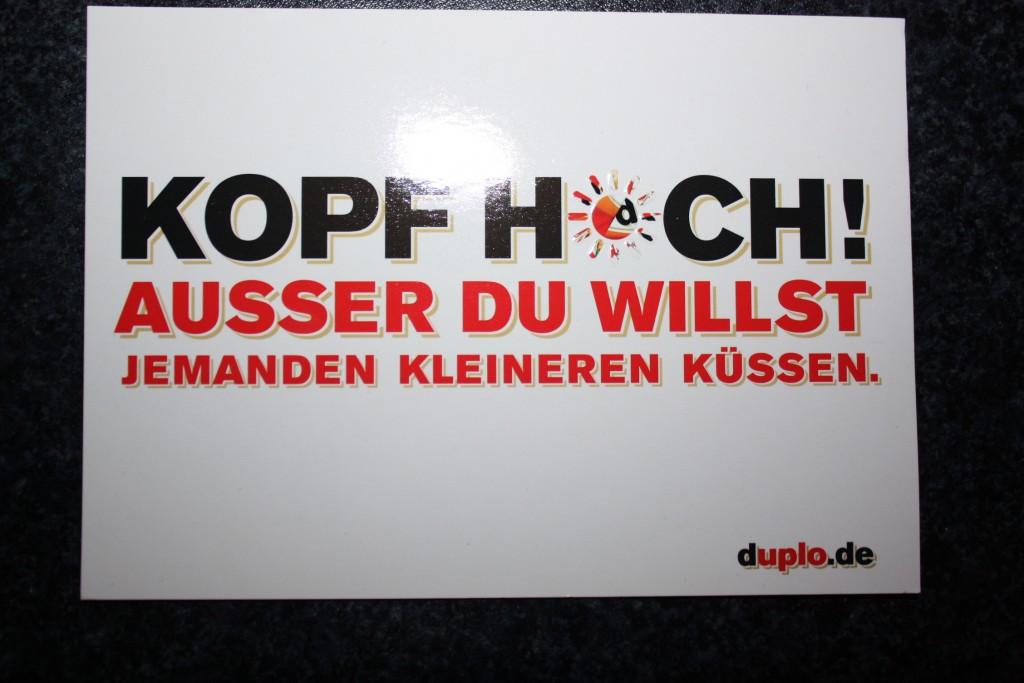 Postkarte mit Duplo-Slogan