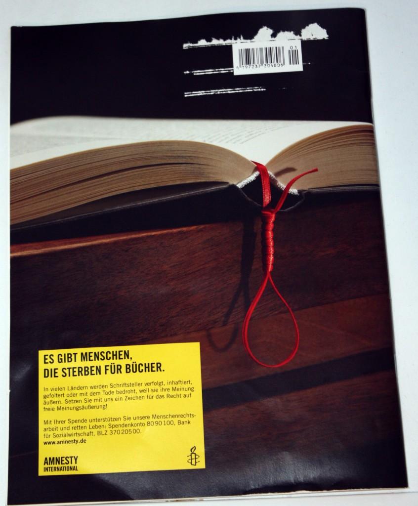 Rückseite des Amnesty Journals 01/2013