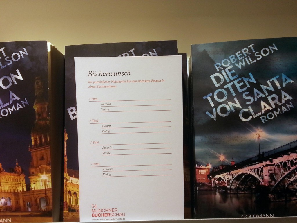 Abbildung einer Postkarte mit Bücherwünschen