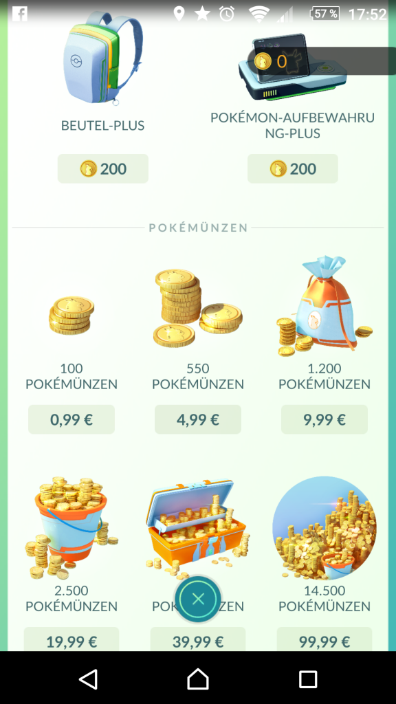 Geld ausgeben Pokémon Go