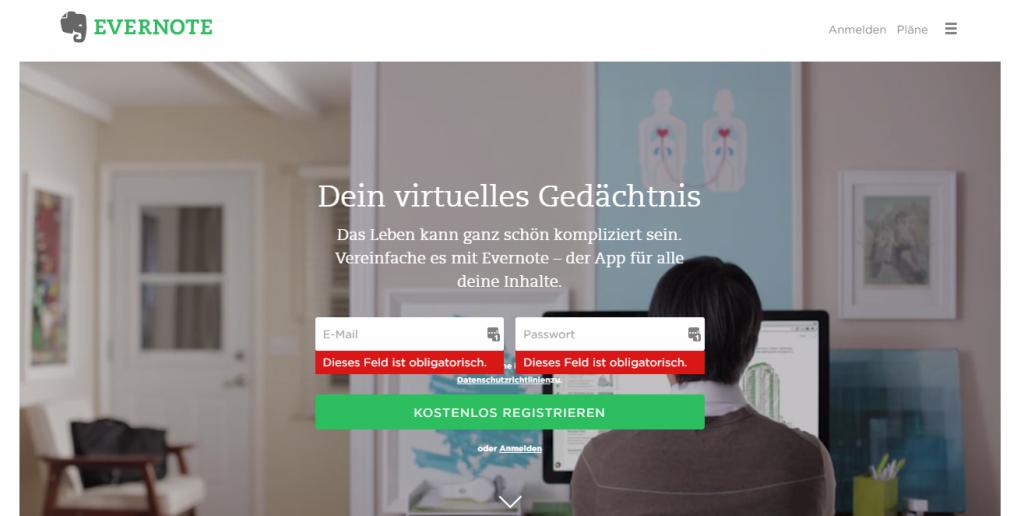 Evernote: Screenshot der Startseite